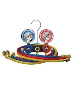 Mastercool 93636-E Refrigeration Manifold Gauge Set Two Way with 3 x 90cm Hoses R410 R404