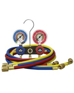 Mastercool Two Way Refrigerant Manifold Gauge Set with 3 x 150cm Ball Valve Hoses R134a R404a Mastercool 93661-MB