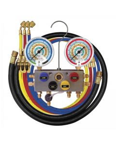4 Way Refrigerant Manifold Gauge Set 3/8 Bore With 3 x 150cm Ball Valve Hoses 1 x 3/8 Hose R134a R404a R407c R22 R507 Mastercool 96261-Mb
