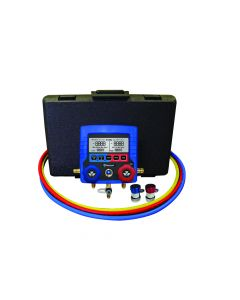 R134A Refrigerant Digital Manifold Gauge Set with 3 x 180cm Hoses and Two Auto Couplers for Aircon Mastercool 99872-1/4