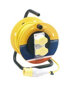 Draper 71829 110v Ac Industrial Cable Reel 25m Dual Socket